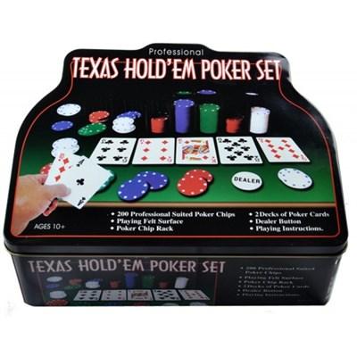 Покер 200 фишек в металлической коробке - фото 16605