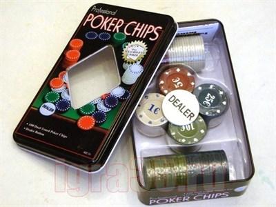 Покер 100 фишек в металлической коробке - фото 16631