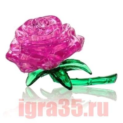 Паззл 3D. Crystal Puzzle Роза (розовая) - фото 17577