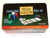 Покер 200 фишек Texas в металлической коробке