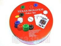 Покер 240 фишек, карты, полотно в круглой металлической коробке